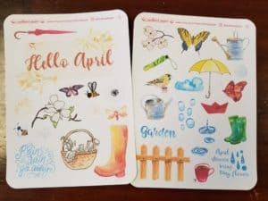Redhead Paper monthly decorative stickers for April