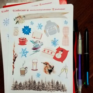 Redhead Paper monthly decorative stickers for January