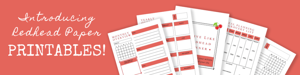 Redhead Paper Planner Printables digital downloads