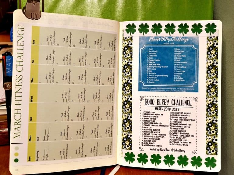 March Fitness Challenge calendar and planning challenge prompts