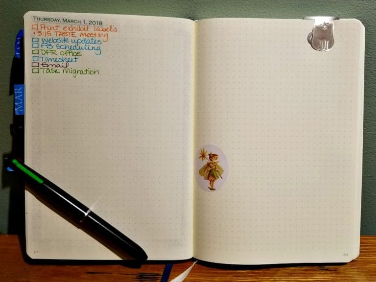 March 1 to-do list in a Bullet Journal