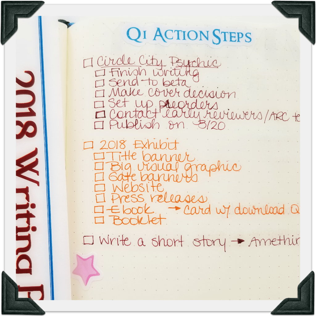 A picture of my Quarter 1 Action Steps - Track goal-setting and projects in Bullet Journal