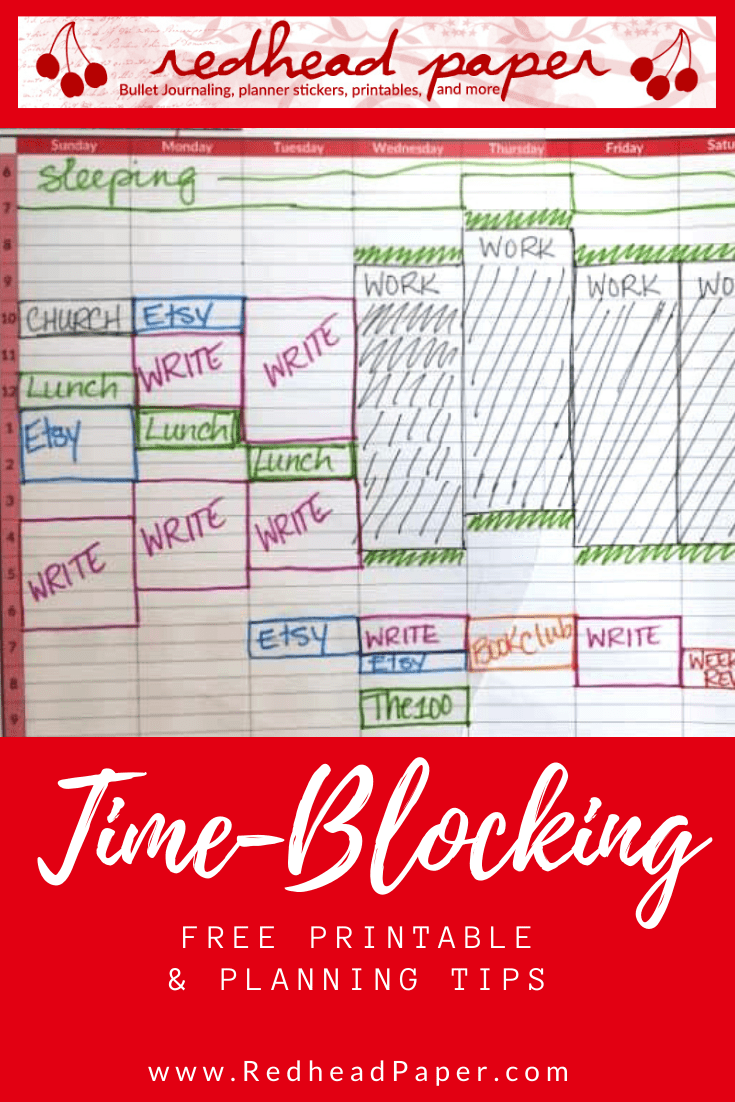Get a free time-blocking printable for planning and time management from Redhead Paper!