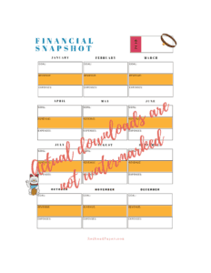 Printable Financial Snapshot worksheet from the Crazy Cat Lady Planner Kit